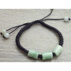 Jewelry - Triple Barrel Jade Cord Bracelet